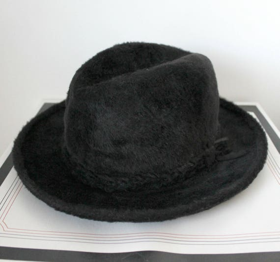Vintage Stetson Imperial Hat, Black Fur Fedora, Mens 57 7 1/8 in Box