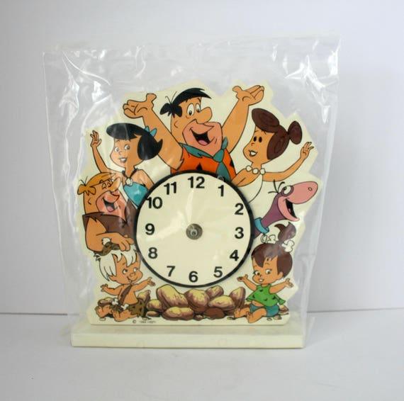 1994 Flintstones Clock, NOS Cartoon Vintage Promo Wood Wall or Desk Clock by HBPI