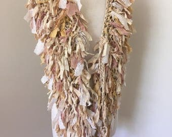 silk wrap, Cream beige wrap, silk scarf, recycled silk scarf, hand knitted scarf, bohemian scarf, sale