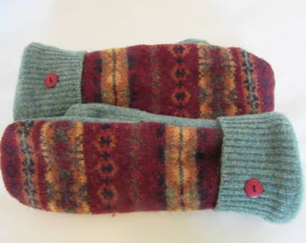 Women's Patterned  Wool Sweater Mittens