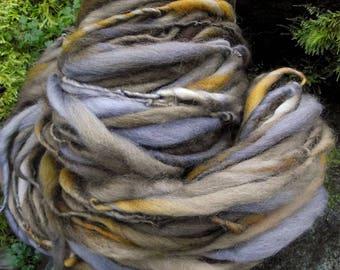Handspun art  yarn, handpainted Organic Polwarth wool yarn super bulky  thick and thin -BARRED OWL