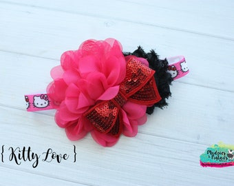 baby Headband { Kitty Love } red, black, pink first Birthday, cake smash Flower, cruise Headband headband, baby photography prop pageant