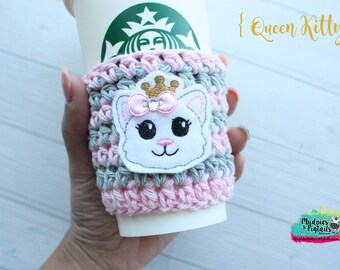 Crochet cup cozy { Queen Kitty } cat, white kitten pink aqua, zoo gift, teacher gift, knit mug sweater, animal lover, coffee cup sleeve
