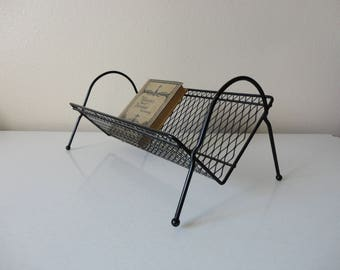VINTAGE mid century black METAL SHELF - rack - holder
