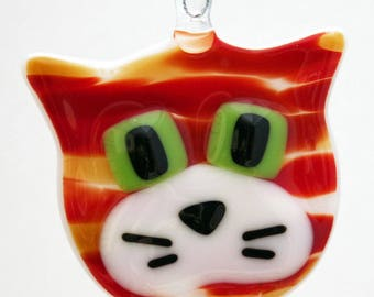 Glassworks Northwest - Orange Tabby Cat - Fused Glass Ornament