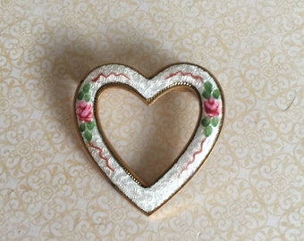 Vintage Stunning Guilloche hand painted Heart pink cabbage rose brooch