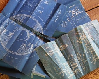Vintage BLUE PRINTS- 1923 Blueprint Plans Invention Diagrams- Buncombe County NC Mechanical Drawing