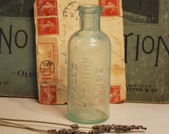 Vintage BOTTLE- Hall's Catarrh Cure Seafoam Green BOTTLE- Apothecary Medicine- R50