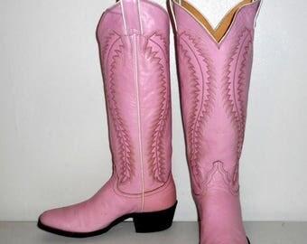 Bubblegum Pink Cowboy Boots Womens 5 C Wide Width Cowgirl Boho Western Tall