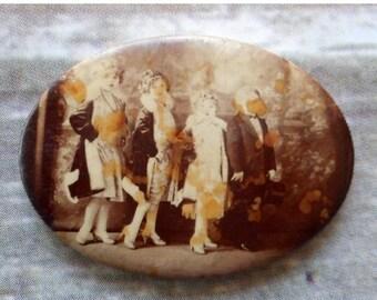 Antique Photograph Pocket Mirror 4 Children Dressy High Heels Make Up Jewelry