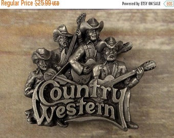 Country Western Belt Buckle Music Musicians Rockabilly Guitar Fiddle 1981 Bass