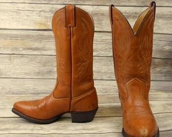 Mens 8 D Cowboy Boots Pathfinder Justin Caramel Tan Country Western Rockabilly