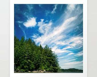 Washington Coast Art Print, beach landscape, Willapa Bay, Long Island, oysters, nautical photography, square photograph, coastal decor