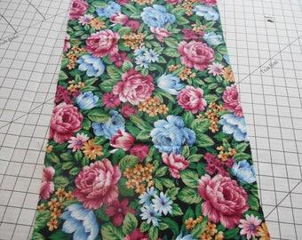 Flowers Blue and Mauve fabric