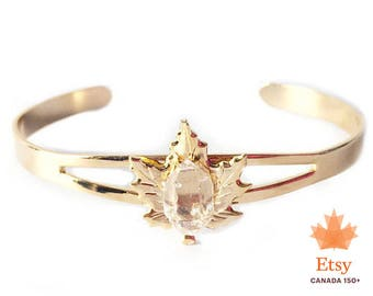 Canada Day Maple Leaf Bracelet with Quartz Crystal, crystal bracelet, leaf bracelet , maple leaf