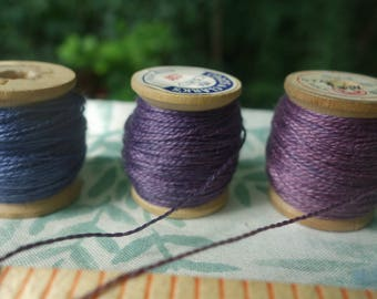 Silk EmbroideryThread Natural Dyes on Vintage Wood Spools Violet Purple Set of 3 Dyed with Logwood Lac and Indigo 20 Yards Each Spool