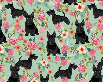 Black Scottie Dog Fabric - Scottie Dog Florals Scottish Terrier Dog By Petfriendly - Dog Terrier Cotton Fabric By The Yard With Spoonflower