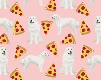 Great Pyrenees Fabric - Large Fluffy White Dogs Pizza Cute Great Pyrenees  By Petfriendly - Pink Cotton Fabric by the Yard with Spoonflower