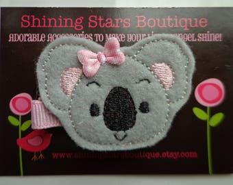 Felt Hair Clips - Baby Girl Hair Accessories - Gray/Grey And Pink Boutique Embroidered Felt Koala Bear Hair Clippie - Zoo Animal