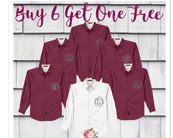 BUY 6 or more, get one FREE , Bridesmaid oxford shirts, monogrammed oxford shirts, getting ready shirts, bridal party gifts