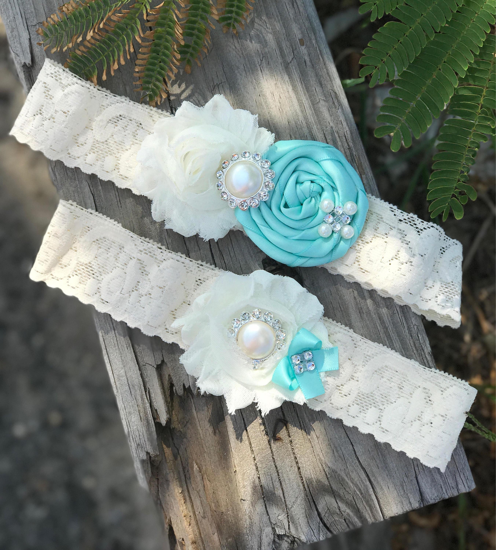 Wedding Garter Pictures: AQUA Wedding Garter Set / Bridal Garter/ Lace Garter / Toss