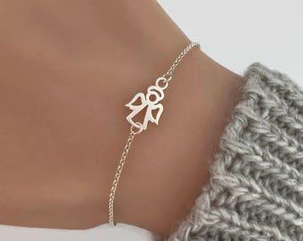 Sterling Silver Angel Bracelet - Guardian Angel Bracelet, Adjustable Bracelet, Guardian bracelet, Sympathy gift, Memorial jewelry