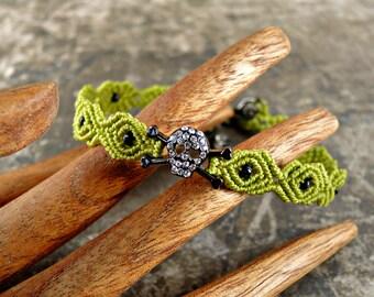 Green Bling Skull and Crossbones Macrame Bracelet - Micro Macrame Bracelet - Size Large Bracelet - Anklet - Gunmetal Skull with Crystals