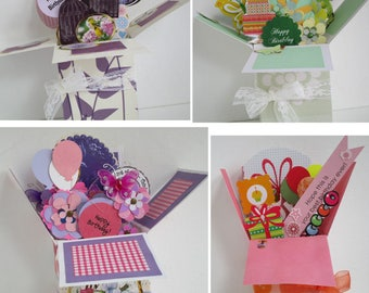 Handmade Birthday Exploding pup up box card-2 variations left- Free Shipping in USA