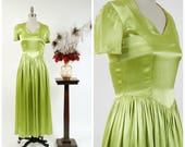 Vintage 1940s Gown - Autumn 2017 Lookbook - The Trajan Gown - Stunning Early 40s Chartruese Green Glossy Liquid Satin Evening Dress XS