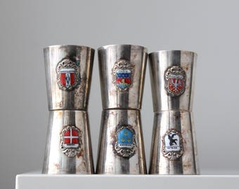 Enamel Crest Shot Glasses, Paris Crest, German Silver Shot Glasses, European Shotglasses, WWII Military Souvenirs, Little Silver Cups