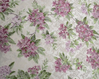 7 yards beautiful drapery frabric / lavender floral design / lavender hydrangias / floral pillow fabric / drapery remnant