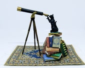 Collector Miniature 1:12 Star Gazing BLACK CAT on Large BOOK Stack, looking through Telescope! ooak, Witch