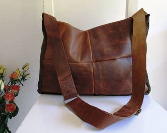 Distressed Brown Leather and Fabric Messenger