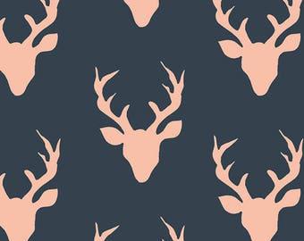 Woodland baby bedding / Deer crib bedding- navy fitted crib sheet / mini crib sheet/ elk changing pad cover - elk crib sheet- coral and navy