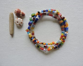 Africa -  Ghana trade beads - set of 3 stretch bracelets- simple, colorful stack - small  Christmas bead stretchies