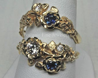 Rose Diamond and Sapphire Wedding Set In 14K Gold Size 7