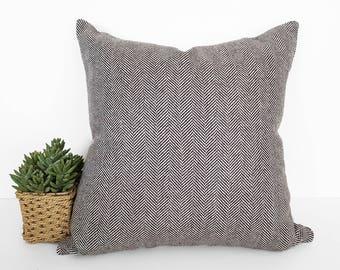 brown herringbone pillows brown beige throw pillow brown farmhouse pillow covers wool blend