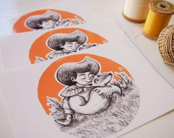 Postcard SET of 3, Girl with fox, children illustration, art for kids