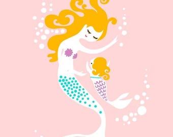 "SUMMER SALE 8X10"" mermaid mother & baby girl giclee print on fine art paper. light pink, teal, purple, blonde."