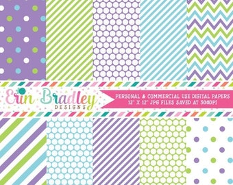 50% OFF SALE Purple Green and Blue Polka Dots Stripes & Chevron Commercial Use Digital Paper Pack Instant Download