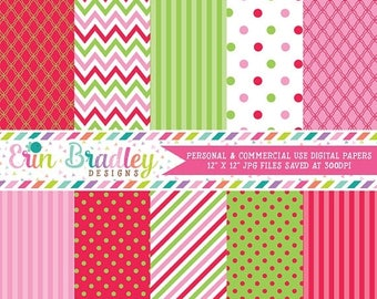 80% OFF SALE Christmas Holiday Digital Paper Pack Pink Green & Red Commercial Use Instant Download