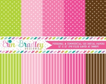 80% OFF SALE Digital Paper Pack Personal and Commercial Use Preppy Polka Dots and Stripes