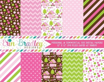 80% OFF SALE Camping Digital Papers Pink Polka Dots Chevron & Stripes Patterns Personal and Commercial Use Glamping Digital Papers