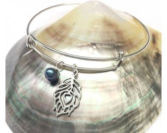 Silver Bangle Bracelet with Peacock Feather Charm and Petite Freshwater Pearl