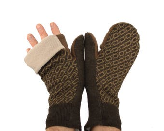 Mens Convertible Flip Top Mittens in Chocolate and Cappuccino Brown - Recycled Wool - Fleece Lined