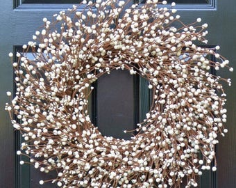 SUMMER WREATH SALE Cream Berry Wreath- Berry Door Wreath- Year Round Wreath- Wedding Wreath- Christmas Wreath- Winter Wreath- Fall Wreath- S