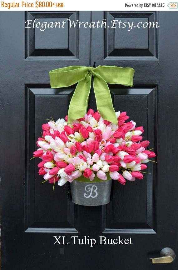 SUMMER WREATH SALE Monogram Spring Tulip Wreath- Xl Tulip Door Bucket Wreath Alternative- Tulip Wreath- Gift for Mom- Wreath for Spring- Cus