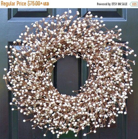 SUMMER WREATH SALE Cream Berry Wreath- Berry Door Wreath- Year Round Wreath- Wedding Wreath- Christmas Wreath- Winter Wreath- Fall Wreath- S