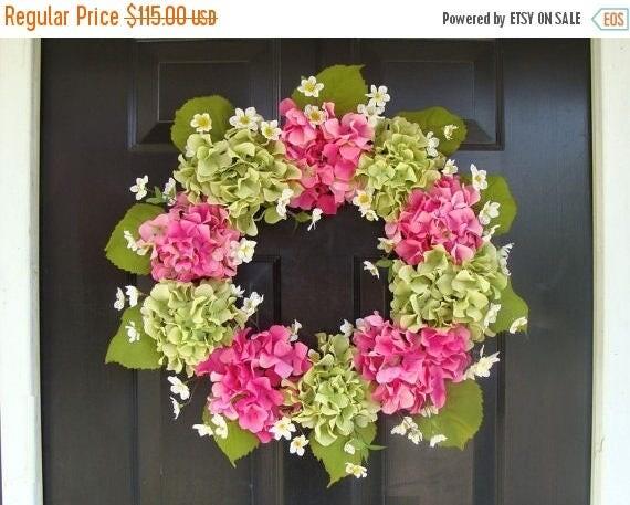 SUMMER WREATH SALE Summer Wreath- Mother's Day Wreath- Hydrangea Spring Wreath- Summer Wreaths- Mother's Day Gift- Year Round Wreath