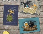 Alien and Jonesy and the Face Hugger Cartoon Art Prints